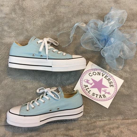 Nwob Baby Blue Platform Converse